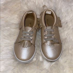 Freshly Picked gold slip on sneakers